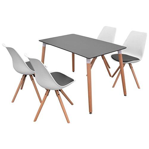 Festnight- 5-teilige Essgruppe Tisch Stühle | Esstisch + Stuhlset | 1 Tisch & 4 Esszimmerstühle | Tischgruppe 4 Personen Esszimmer Esstisch Küche Sitzgruppe | Weiß und Schwarz