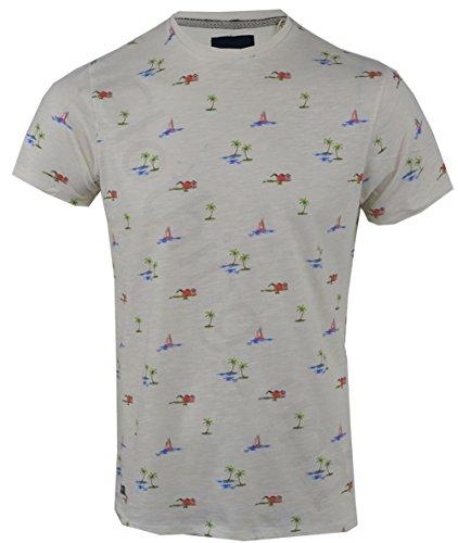 Threadbare Herren T-Shirt, Geblümt Ecru Beachy