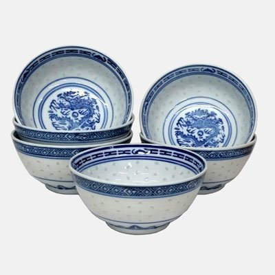 Newquay-Bonsai Set of 6 small Oriental Chinese Porcelain Decorated Blue and White Rice Bowls MA