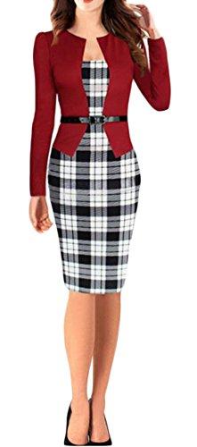 YOGLY Damen Kleider UAusschnitt Knielanges Etuikleid Cocktailkleid Vintage  Business Partykleid schwarze Lila Rot Rot
