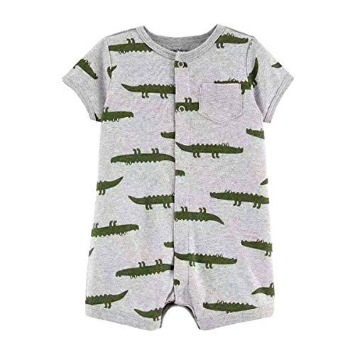 Happy Baby-strampelanzug (ACVIP Baby Sommer Kurze Strampler Mädchen Jungen Kurzarm Spielanzug Strampelanzug Romper(18-24 Monate,Grau Krokodil))