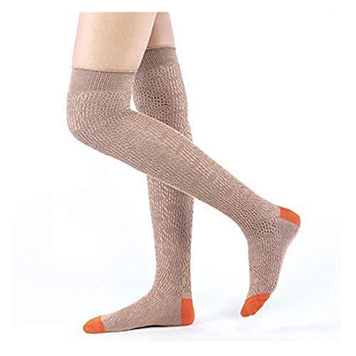 men High Socks Frauen Knie-Lange Socken Streifenmuster College Herbst Winter Baumwolle Lange Spitze Strümpfe Schenkel Hoch Strumpf Halterlose Strumpfhose (One size, Kaffee) ()
