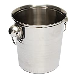 Ice Bucket - Sodial(r) Silver Stainless Steel Ice Punch Bucket Wine Beer Cooler Champagne Cooler Party