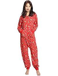 BESBOMIG Divertidos Familia Navidad Impreso Encapuchado Ropa de Casa Pijama de Mono Conjunto para Mujeres, Hombres, Niñas y Niños
