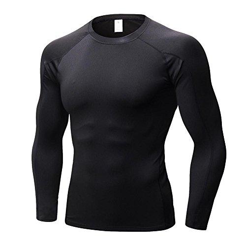 Herren Cool Compression T-Shirt Langarm Sport Athletisch Base Layer Tank Top von Hankyky (Layer Läuft Top Base)