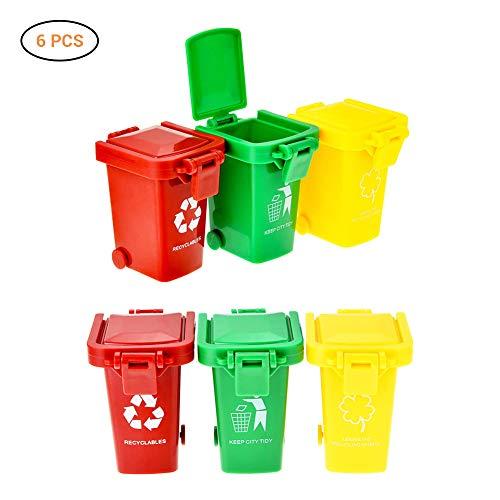 Lispeed Garbage Truck Mülltonnen-Set, Mini Mülltonne 6 pcs Klassifizierter Mülleimer Verschiedene Fahrzeuge Müllbehälter als Kinder Spielzeug optimale Erweiterung für Müll LKW, Seitenlader Recycle