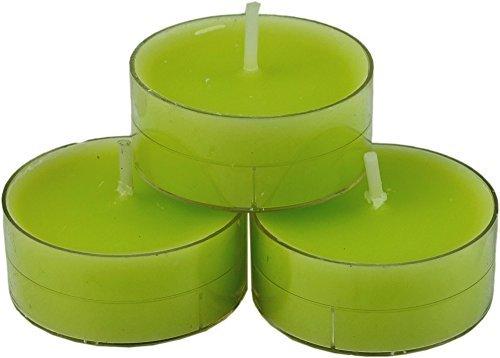 20 dänische Teelichter farbig durchgefärbt, verschiedene Farben zur Auswahl, von Nordlicht-Kontor (Limette - Hellgrün) - Duft Grün