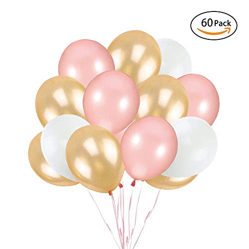 TOPHOPE 60 Stück Roségold Ballon Premium Latex Glitter Ballons für für Hochzeit Mädchen Kinder Geburtstag Party Valentinstag Deko (12 Zoll/30cm)