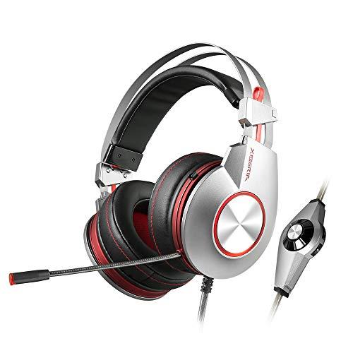 Givekoiu Headsets Kopfhörer-Adapter, NUBWO N7 Gaming Headset Stereo PC Gaming Headset mit Geräuschunterdrückung Headset Silver01