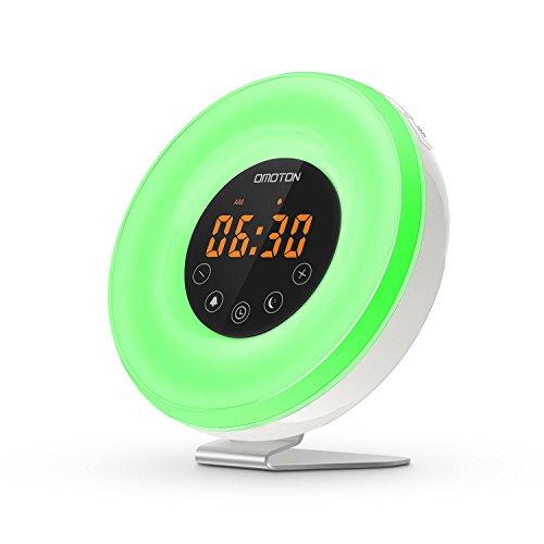 OMOTON Despertador Luz [Atardecer y Amanecer Simulation] Wake -Up Light[Control Táctil/ 7 Colores ][Radio...