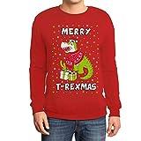 Merry T-Rexmas Dinosaurier mit Weihnachtspullover Sweatshirt Medium Rot