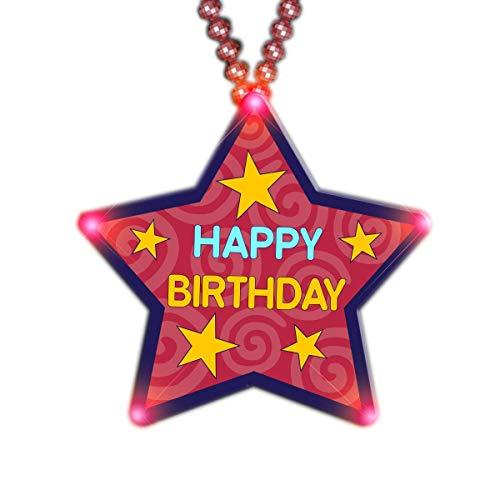 MODEOR riesige Happy Birthday Star Perlenkette blinkende Körper Licht Anstecknadeln