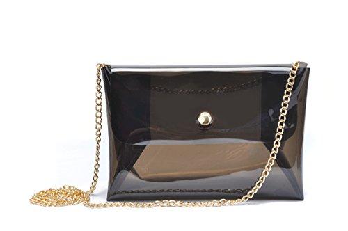 Zarapack da donna, multicolore, con ologrammi, Borsa a tracolla Messenger, Trasparente (Trasparente) - BA955 nero