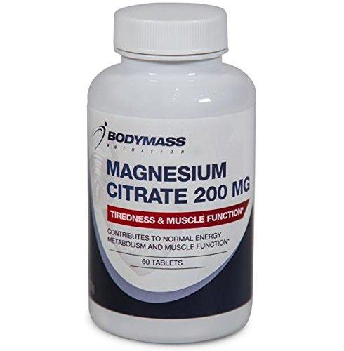 Magnesium-Citrat 200mg hochdosiert - 60 Magnesium-Tabletten für Muskeln, Nerven und mehr Energie - Kein Magnesiummangel mehr┇ Nahrungsergänzungsmittel Magnesium Citrate von Bodymass Nutrition