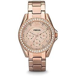 FOSSIL Montre Riley femme / Élégante montre-bracelet rose doré et cadran avec strass - Multifonction : jour et mois - Boîte de rangement et pile incluses