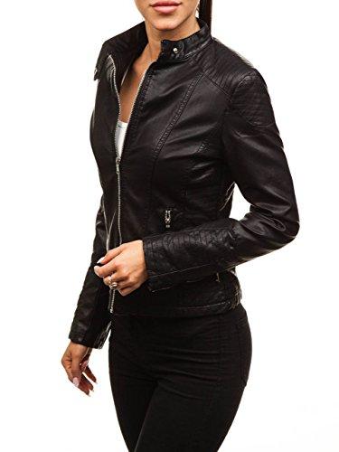 BOLF Damen Kunstlederjacke Ökoleder Zip Casual Style FEIFA Fashion 8892 Schwarz M [D4D]