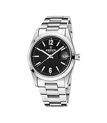 Kronos - Elegance Black 968.8N.52 - Reloj unisex de cuarzo, brazalete de acero, color esfera: negra de Kronos