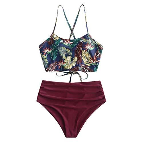 Rifuli Damen Bikini Sexy Frauen Bikini Set Print gepolsterte Bademode Badeanzug Beachwear Geteilter Badeanzüge Reizvoller Strand Bikini Tankini Badebekleidung