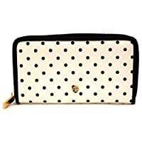 Laura Ashley Large Zip Around Purse Wallet White with Black Dots