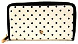 Laura Ashley Large Zip Around Purse/Wallet White with Black Dots