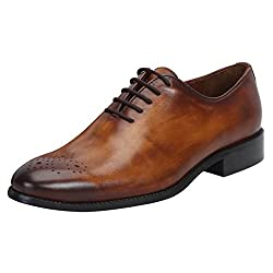 BRUNE CYU TAN LEATHER HAND RUGGED WHOLE CUT/ONE-PIECE OXFORD SHOE WITH MEDALLION TOE FOR MEN
