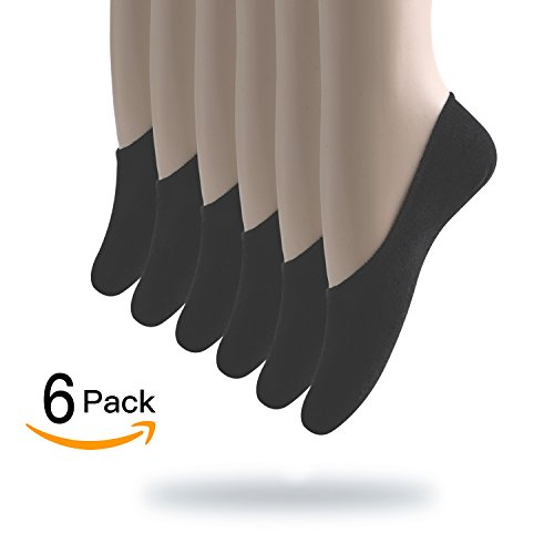 Women's Low Cut Thin Casual No Show Socks with 3 Non Slip Flat Boat Line- 6 Pack