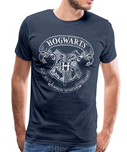 Harry Potter Hogwarts Wappen Zeichnung Männer Premium T-Shirt, 4XL, Navy