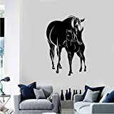 Cchpfcc Pferde Fohlen Tiere Familie Vinyl Wandtattoo Aufkleber Wohnkultur Wohnzimmer Kunstwand Tapete Home Mural Selbstklebende 57 * 86 Cm