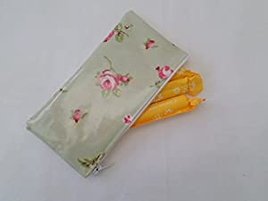 Handmade Oilcloth Tampon Case Holder - Clarke and Clark Sage Rosebud Fabric