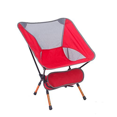 DEI QI Chaise Pliante d'extérieur, Portable Ultra-léger, Chaise de Plage de pêche, Art Sketch, Alliage d'aluminium (Couleur : Rouge)