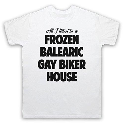 Frozen Balearic Gay Biker House Niche Dance Music Herren T-Shirt Weis