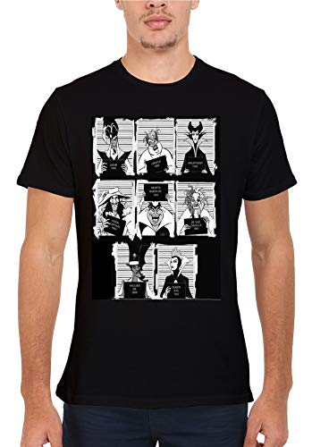 Disney Villains Mugshot Novelty Men Women Unisex Top T Shirt-M
