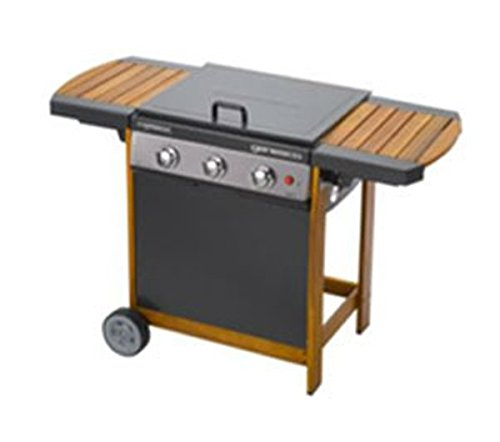Grill Grillplatte Gasgrill Grillrost Stahl 11400 Watt doppelt emailiert FSC-Holz BBQ Campingaz Woody 3