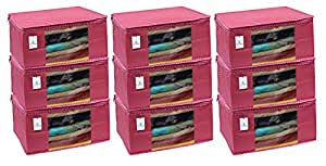 Kuber Industries 9 Piece Non Woven Saree Cover Set, Pink,Large Size -CTKTC6411
