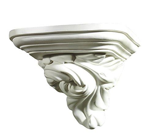Gipsmanufaktur Wandkonsole Blattmotiv, 17 cm weißer Alabastergips