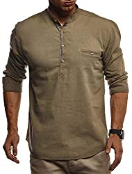 Leif Nelson Herren Leinenhemd Hemd Leinen Kurzarm T-Shirt Oversize Stehkragen Männer Freizeithemd Sommerhemd Regular Fit Jungen Basic Shirt Kurzarmshirt Freizeit Sweater LN3865 Khaki Large