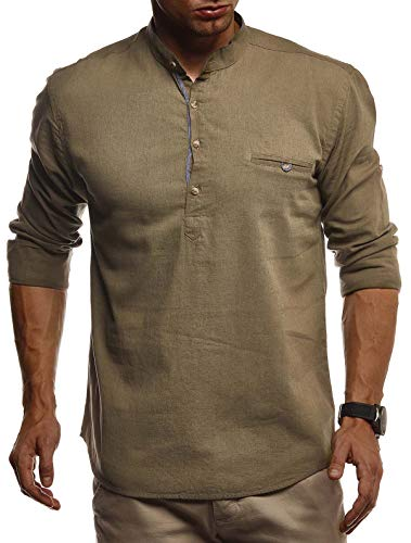 LEIF NELSON Herren Leinenhemd Hemd Leinen Kurzarm T-Shirt Oversize Stehkragen | Männer Freizeithemd Sommerhemd Regular Fit | Jungen Basic Shirt Kurzarmshirt Freizeit Sweater | LN3865 Khaki X-Large