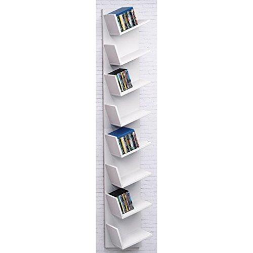 Oliote CD DVD Ständer Regal Bücherregal Wandregal Hängeregal 8 Fächer für bis zu 200 CDs, Weiß, 33 x 180 cm (Breite x Höhe)