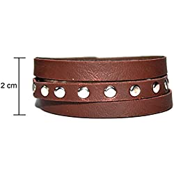 Leather Bracelet Stunning Brown Metal Beads Wrist Band For Boys Men Girls Women Fashion Accessories Gift Jewelry by Tech Fashion-TF-528