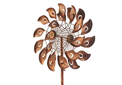 Kobolo Windrad Gartenstecker Dekostecker Windspiel XXL Calla Bronze aus Metall groß