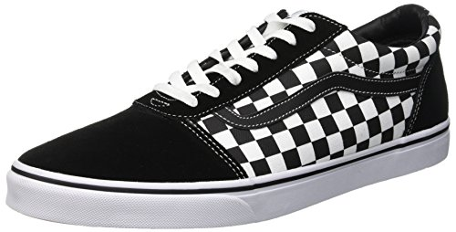 Vans Herren Ward Suede/Canvas Sneaker, Schwarz ((Checker) Black/True White Pvj), 46 EU Lace Up Suede Sneakers