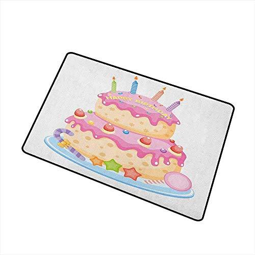Compleanno per Bambini Tono d'ingresso per Uso Commerciale Color Pastello Torta per Festa di Compleanno con Candele e Caramelle Festeggiamento Immagine per ingressi Garage per Auto Tappetino da Bagno