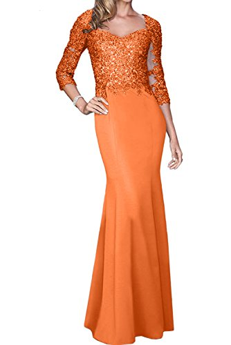Sunvary Elegant Neu Langarm Meerjungfrau Spitze Chiffon Abendkleider Ballkleider Lang Promkleider Paillette Orange