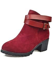Zapatos de mujer Botines Señoras Martin Boots Botas de caballero Bajo talón Cinturón Hebilla Casual Vintage Medio talón Plataforma Zapatos LMMVP