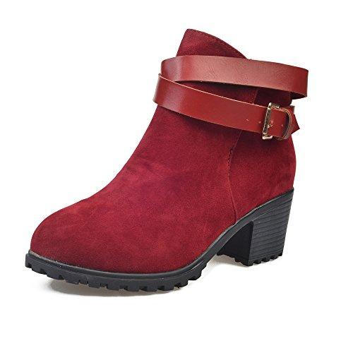 Tefamore Stivali Da Neve, Donne Tacco Alta Cinghia Fibbia Inverno Caloroso Caviglia Scarpe Rosso