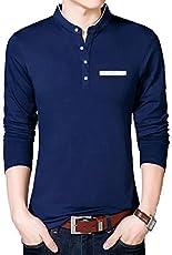 Seven Rocks Men's Cotton Stand Collar Full sleeve T-Shirt