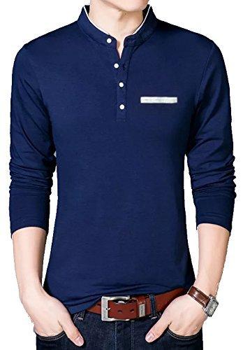 EYEBOGLER Men's Cotton Stand Collar Full Sleeve T-Shirt(M-T15-NB,Navy Blue)