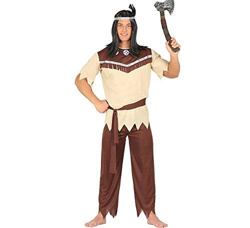 Generique - Indianer-Häuptling Kostüm für Herren Western Beige-Braun M (48-50)