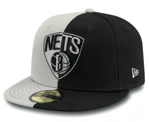 Two Tone Fitted Cap (New Era Herren Fitted Cap NBA 2 Tone Brooklyn Nets schwarz schwarz 7 1/2 - 59,6cm)