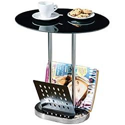 Premier Housewares Ovaler Beistelltisch mit Zeitschriftenhalter, Tischplatte aus schwarzem Glas, chromfarbene Beine, 54x50x40cm